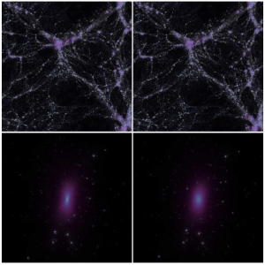 Large & small scale structures in CDM (left) and SIDM (right)