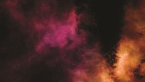 Self-locating workshop image, pink and orange cloud on black background with stars